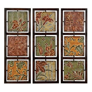 d50f2202cca 3 Piece Verona Flowers and Vines Metal Art Wall Decor Set