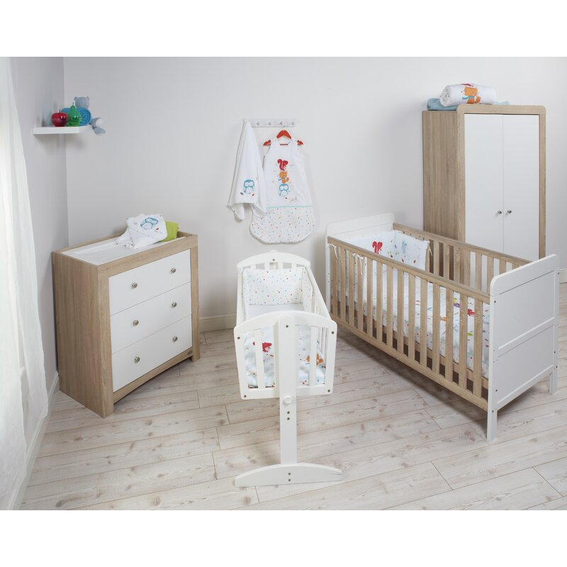 East Coast Fontana Ice Cot Bed 3 Piece Nursery Furniture Set