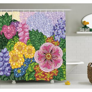 Nature Flower Petals Florets Vintage Romantic Buds Summer Blooms Feminine Shower Curtain Set