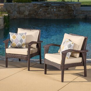 Alcott Hill Crane Patio Chair with Cushion (Set of 2)