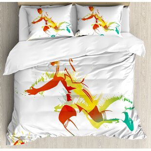 East Urban Home Young Man Playing Soccer Football Athlete Game Champion Paintbrush Artwork Duvet Set