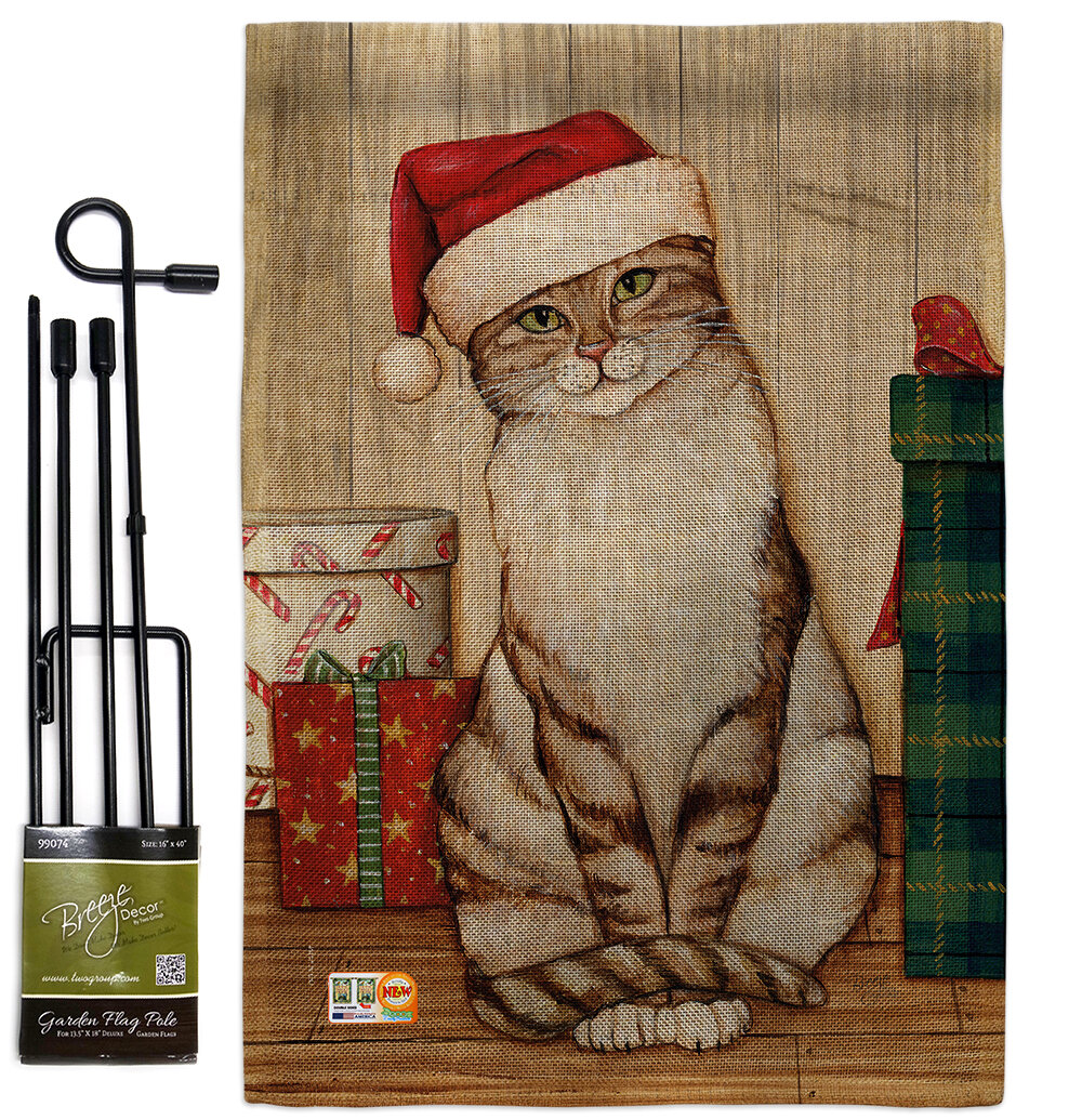 Breeze Decor Christmas Kitty Winter Impressions 2 Sided Polyester 19 X 13 In Flag Set Wayfair