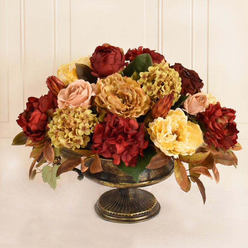 Floral Home Decor Large Burgundy And Gold Silk Flower Floral Arrangement Reviews Wayfair