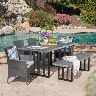 Younes Outdoor 6 Piece Dining Set with Cushions