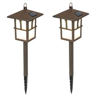 Winsome House Pagoda Solar 1-Light Pathway Light (Set of 2)