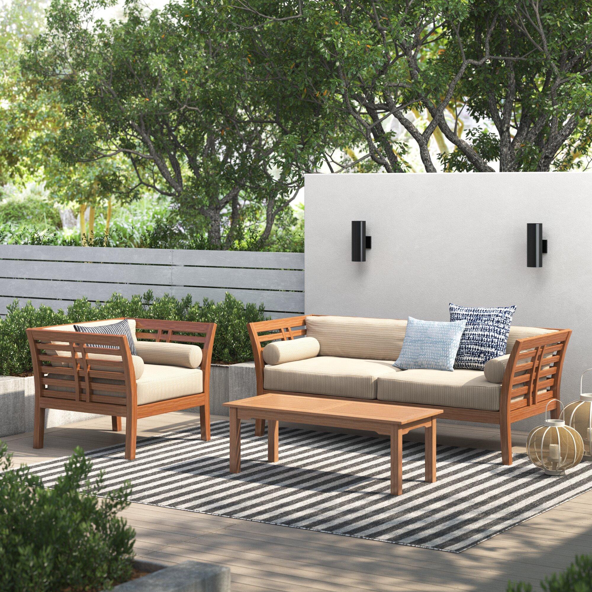 Marcell 3 Piece Teak Sofa Seating Group With Sunbrella Cushions Joss Main