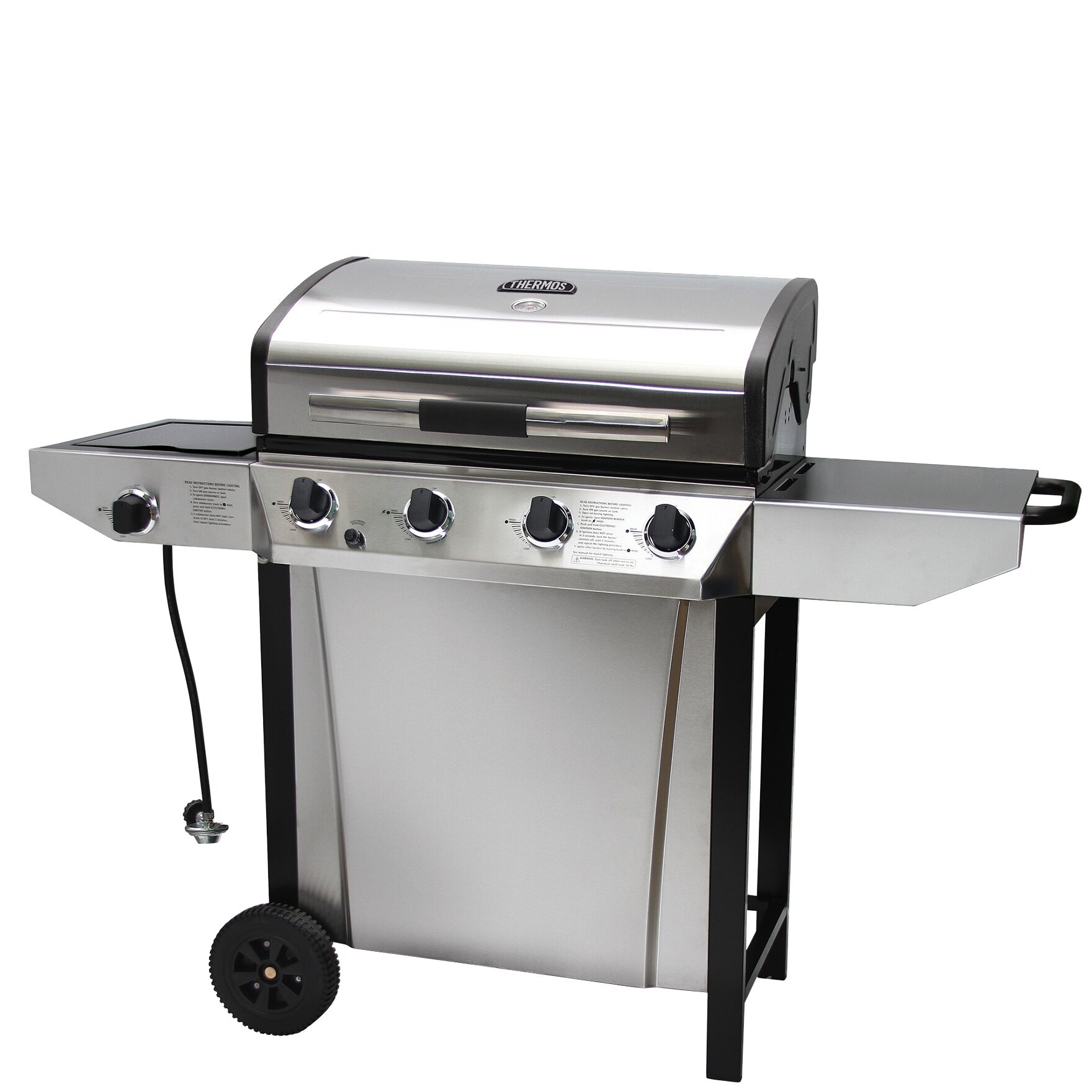 Thermos Thermos 4-Burner Liquid Propane Gas Grill with Side Shelves ...