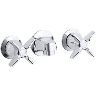 Kohler Triton Shelf-Back Commercial Bathroom Sink Faucet with Grid Drain and Cross Handles