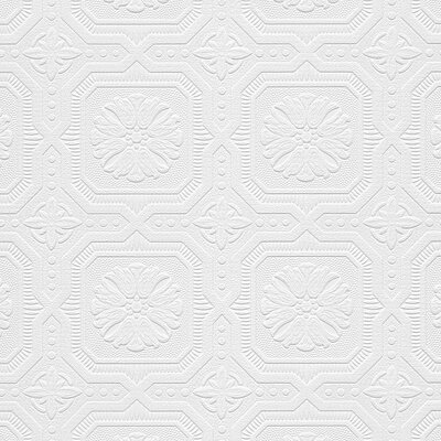 "Domenic 33' x 21"" Textured Paintable Roll Wallpaper Astoria Grand"