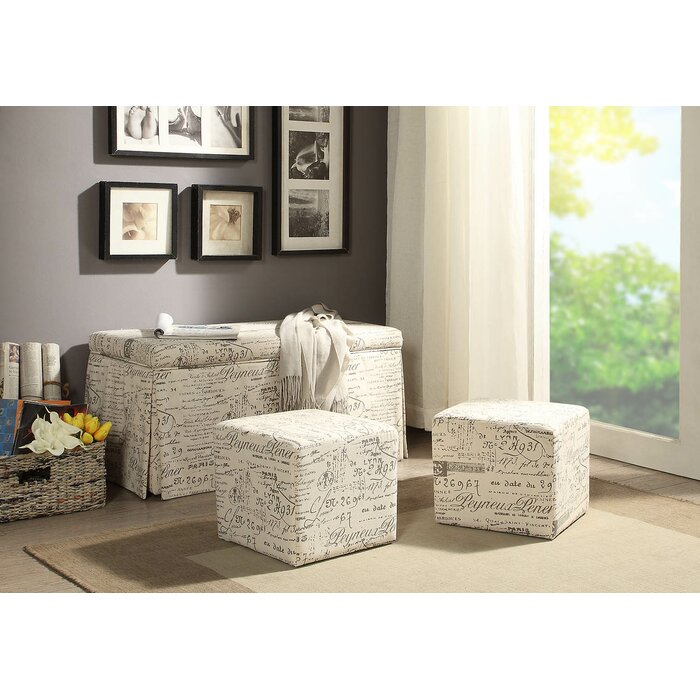 Amazing Kettner 3 Piece Storage Bench And Ottoman Set Ncnpc Chair Design For Home Ncnpcorg