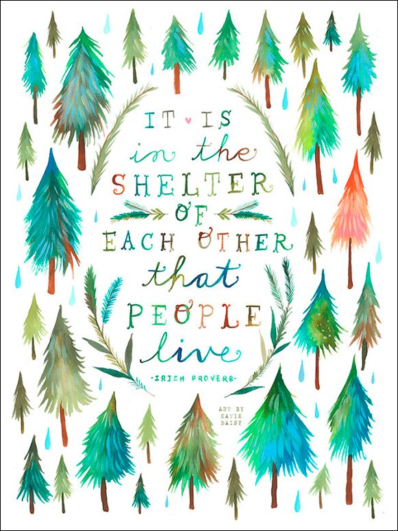 Shelter of Each Other quote from Irish proverb - art by Katie Daisy Wall Decal. Happy LOVE Day, Lovelies! Poetry, handlettered art, and colorful Valentine's Day finds await on Hello Lovely Studio!