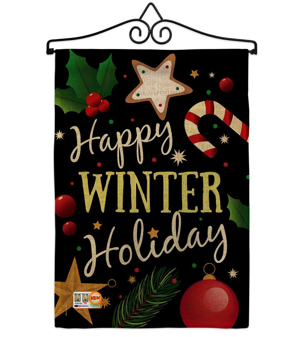 Breeze Decor Happy Winter Holiday Christmas Impressions 2 Sided Burlap 19 X 13 In Garden Flag Wayfair