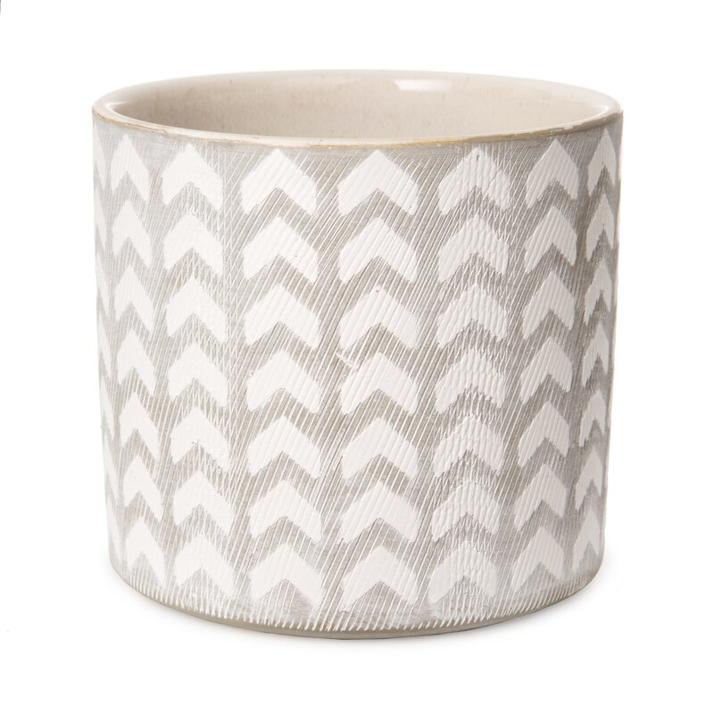 Gray/White Pinkney Geometric Patterned Ceramic Pot Planter by Bungalow Rose