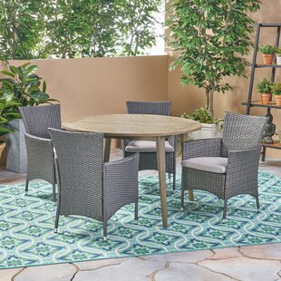 Bungalow Rose Maas Outdoor 5 Piece Dining Set with Cushions