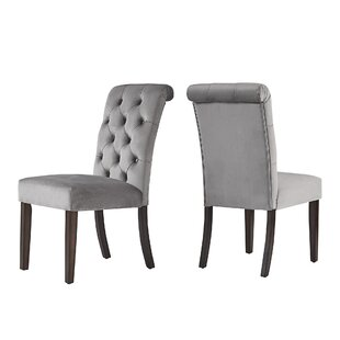 Pompon Rolled Top Tufted Upholstered Dining Chair (Set of 2)
