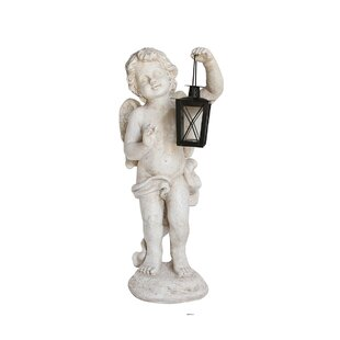Cherub Angel With Tealight Glass Candle Lantern Outdoor Patio Garden Statue