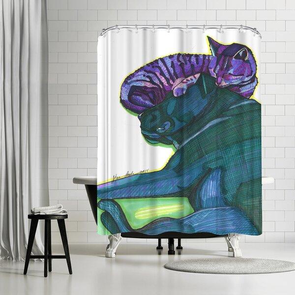 East Urban Home Solveig Studio Sleeping Cat And Dog Single Shower Curtain Wayfair