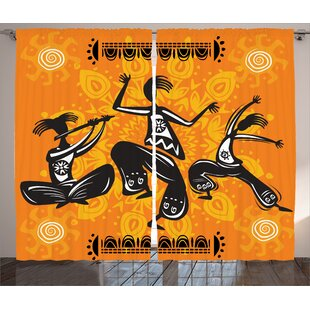 Jodie Dancing Graphic Print and Text Semi-Sheer Rod Pocket Curtain Panels (Set of 2) by Bloomsbury Market