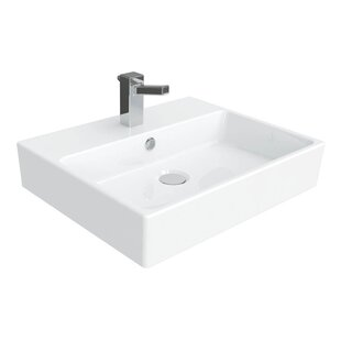 WS Bath Collections Simple Ceramic Ceramic Rectangular Vessel Bathroom Sink with Overflow