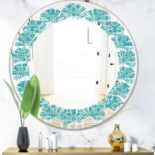 Abstract Pattern Design III Leaves Modern  Contemporary Frameless Wall Mirror