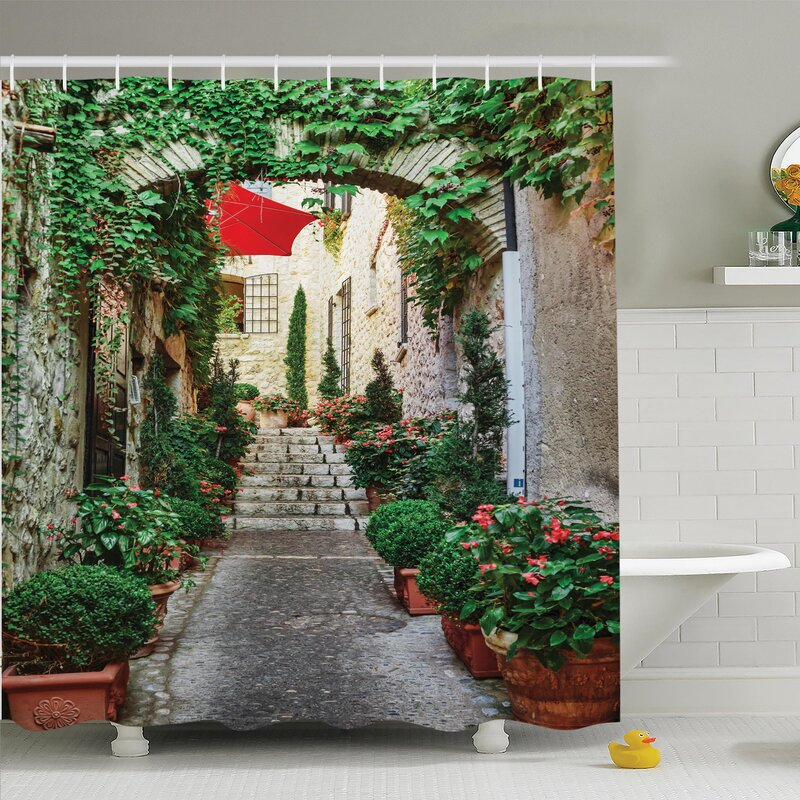 Ambesonne Rustic Old Street with Flowers Shower Curtain Set ...
