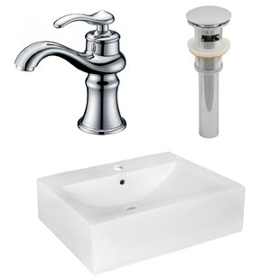 Inexpensive Ceramic 16 Wall Mount Bathroom Sink with Faucet and Overflow By American Imaginations