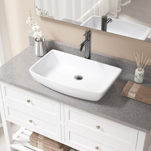 Compare Vitreous China Rectangular Vessel Bathroom Sink with Faucet By MR Direct