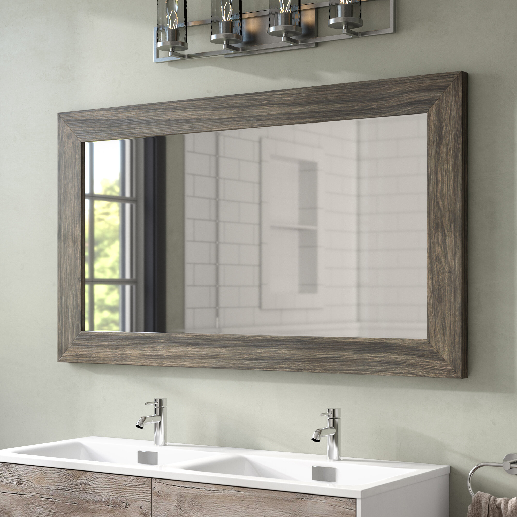 Union Rustic Landover Barnwood Bathroom Mirror & Reviews | Wayfair
