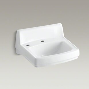 Comparison Greenwich Ceramic 21 Wall Mount Bathroom Sink with Overflow By Kohler