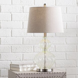Online Reviews Buster Smoked Glass LED 25 Table Lamp By Highland Dunes