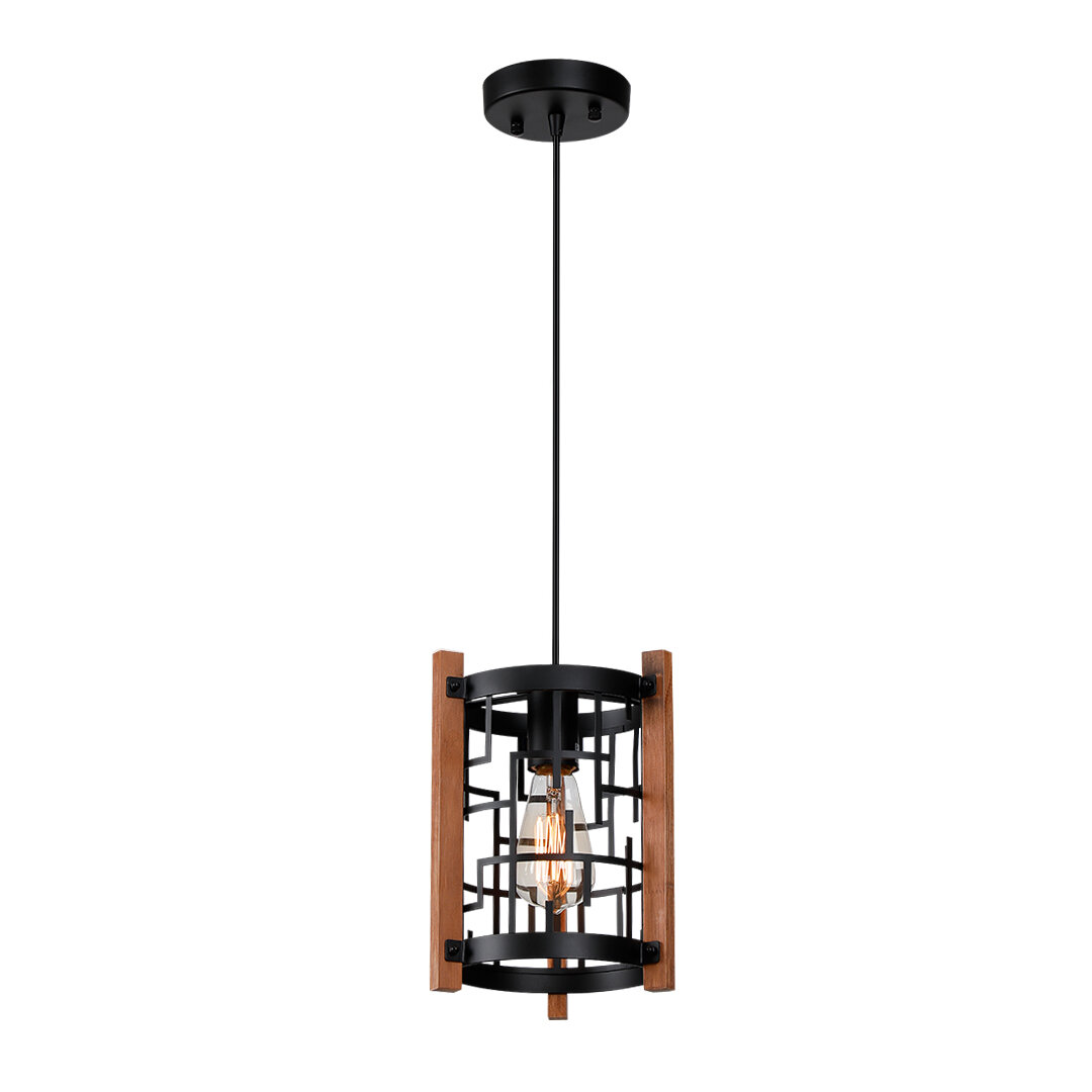 17 Stories Clint 1 Light Single Square Cylinder Pendant With Wood Accents Wayfair