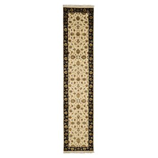 Reviews One-of-a-Kind Bancroft Hand-Knotted 2'7 x 12'1 Wool/Silk Black/Beige Area Rug By Isabelline