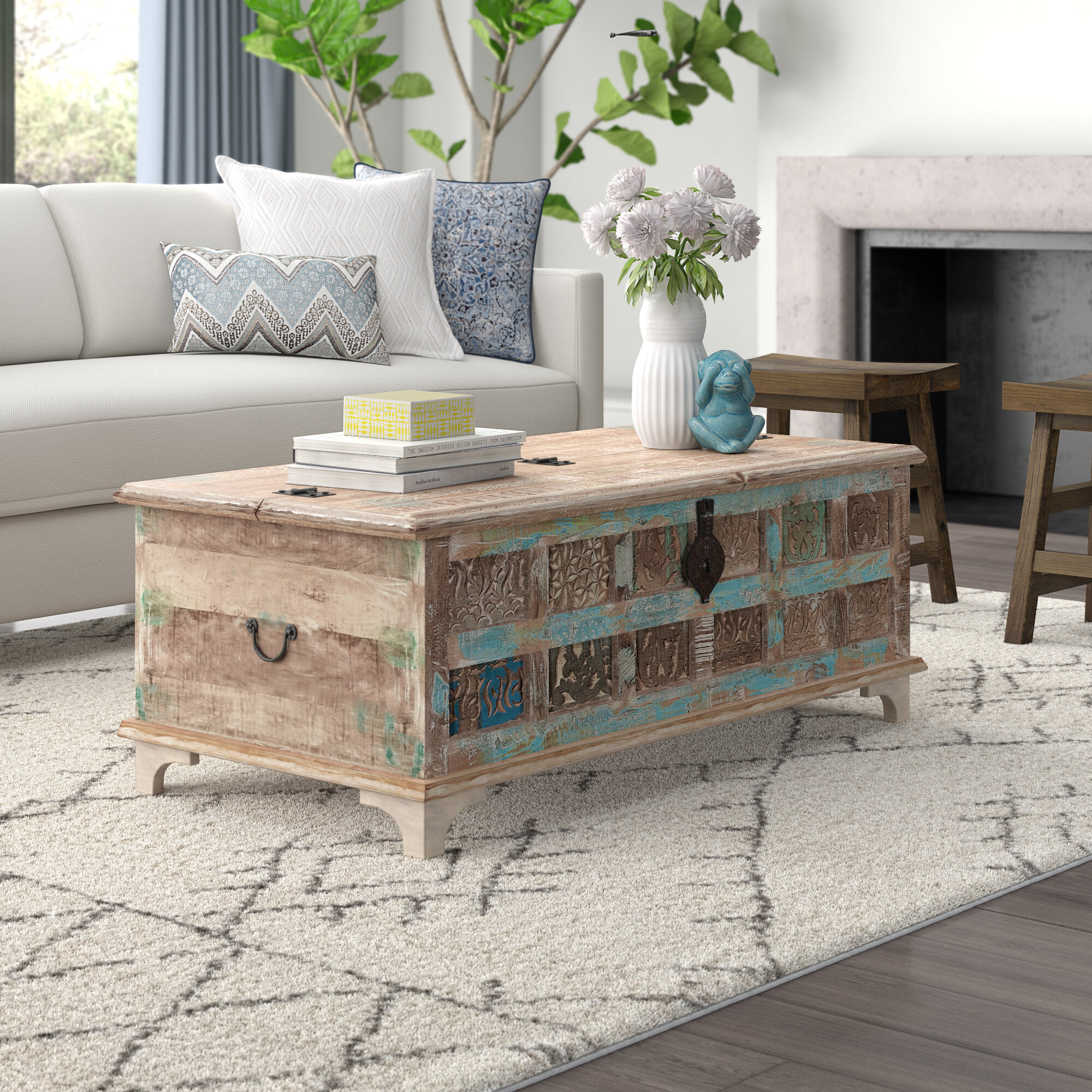 Picture of: World Menagerie Bodella Coffee Table With Storage Reviews Wayfair Ca
