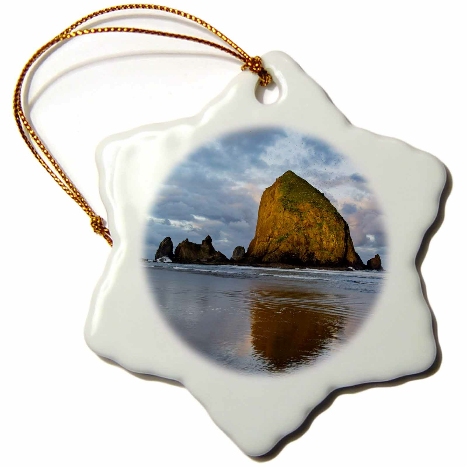 The Holiday Aisle Haystack Rock In Cannon Beach Oregon Usa Snowflake Holiday Shaped Ornament Wayfair