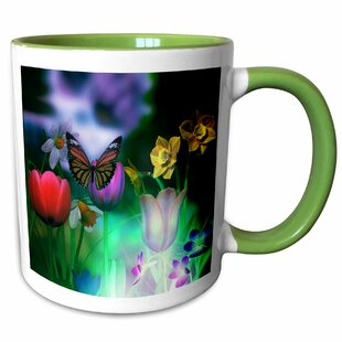 Blane Glowing Tulip, Butterfly, and Daffodils Coffee Mug