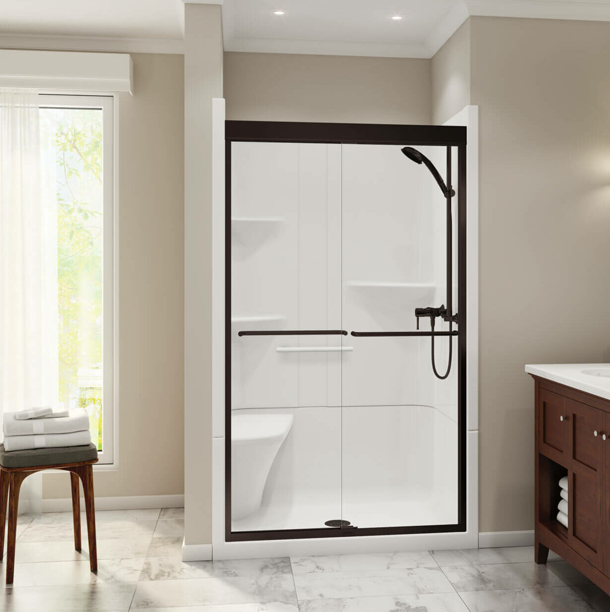 Maax Inc Camelia 48 W X 79 H Framed Rectangle Shower Stall With Seat And Base Included Wayfair