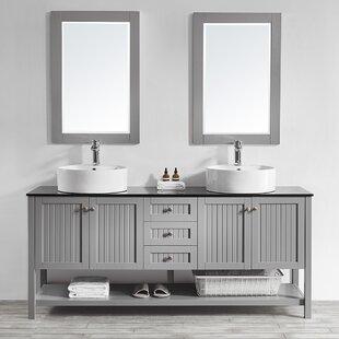 Nadler 72 Double Bathroom Vanity Set with Mirror by Beachcrest Home