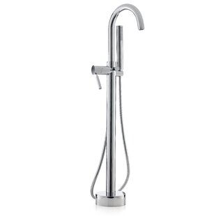 Single Handle Floor Mounted Freestanding Tub Filler with Hand Shower