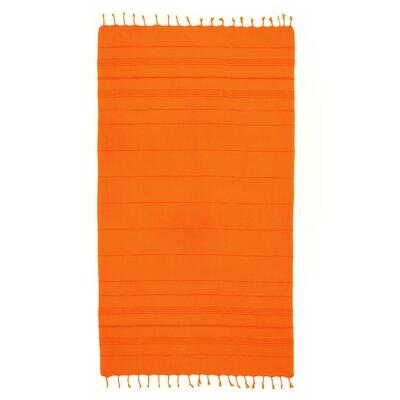 Bay Isle Home Sandspur Pestemal Turkish Cotton Beach Towel Color: Orange