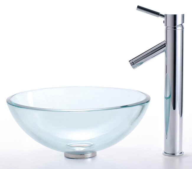 Good Clear Glass Glass Circular Vessel Bathroom Sink With Faucet