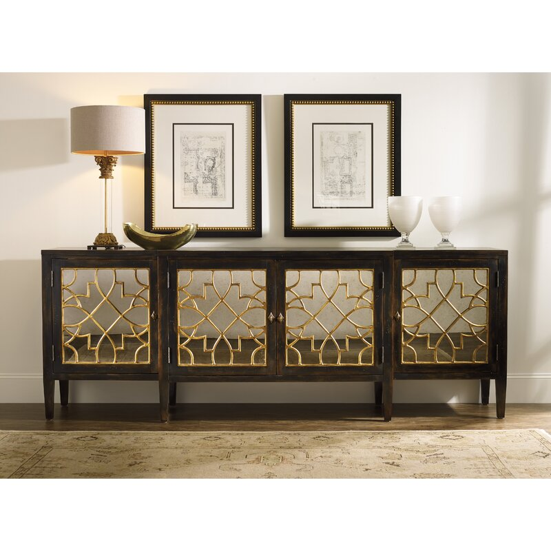 Living Room Mullings Four Door Mirrored Console Sideboard