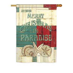 Xmas In Paradise Winter 2-Sided Polyester 3'4 X 2'4 Ft. House Flag by Breeze Decor