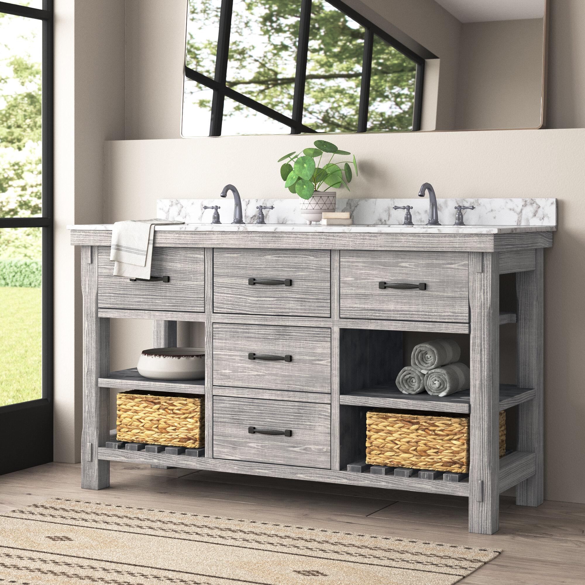 Millwood Pines Villeneuve Rustic Solid Fir 60 Double Bathroom Vanity Set Reviews Wayfair
