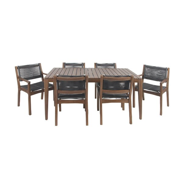 Bungalow Rose North La Junta Rustic Teak Wood And Stainless Steel 7 Piece  Dining Set U0026 Reviews | Wayfair
