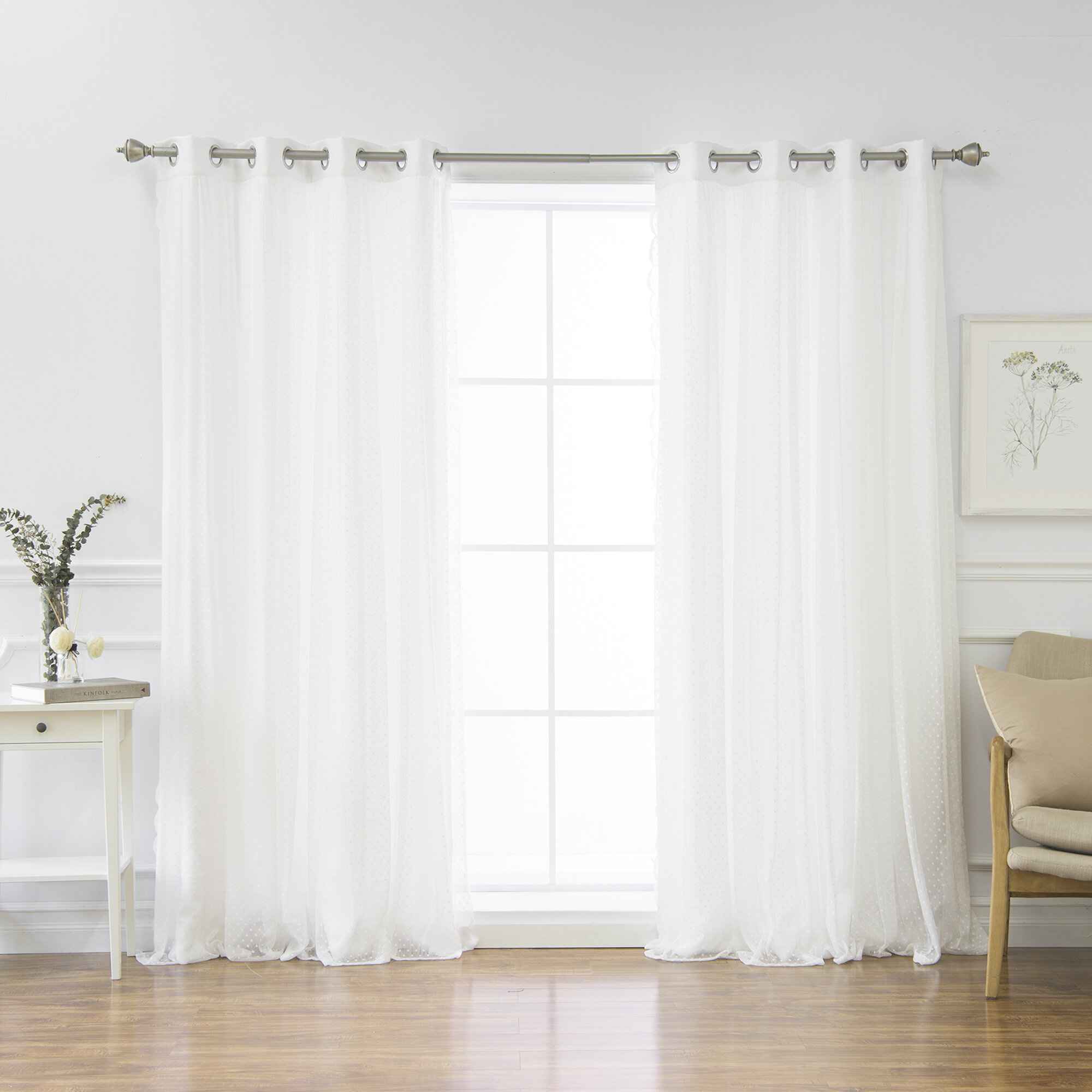 Elegant Curtains with White Backing