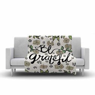 Pom Graphic Design Be Grateful Typography Nature Fleece Blanket ByEast Urban Home