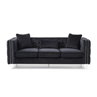 Marte Hickory Black Velvet ModernTufted Desiner Living room Sofa