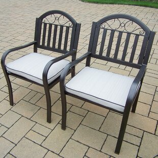 Lisabeth Patio Dining Chair with Cushion (Set of 2)