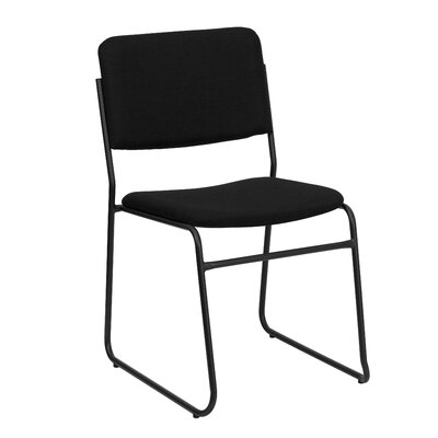Ebern Designs MacArthur Metal Stacking Guest Chair Upholstery / Frame Finish: Black Fabric / Black