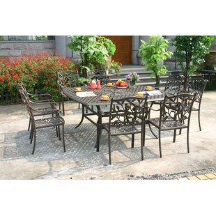 Greggs 9 Piece Dining Set with Cushions by Fleur De Lis Living